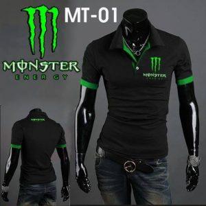 Áo thun polo form body Monster đen