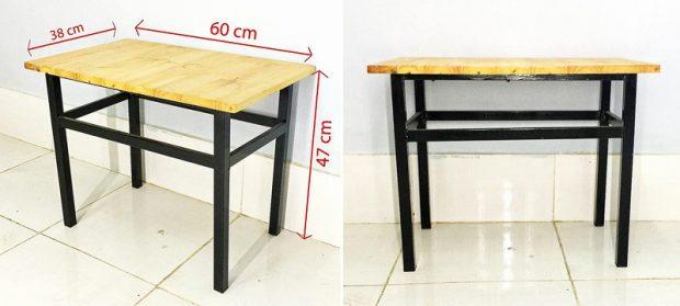 Bàn gỗ chân sắt 60 x 38 x 47 cm