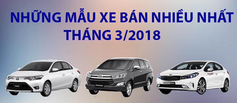 Các mẫu xe bán chạy nhất tháng 3/2018