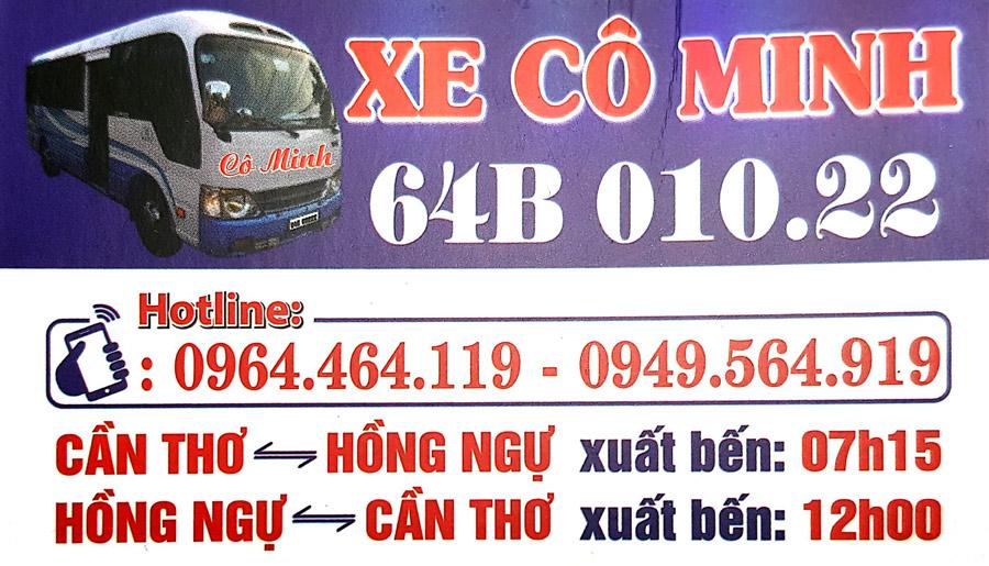 Xe khách Cô Minh: Xe từ Hồng Ngự đi Cần Thơ