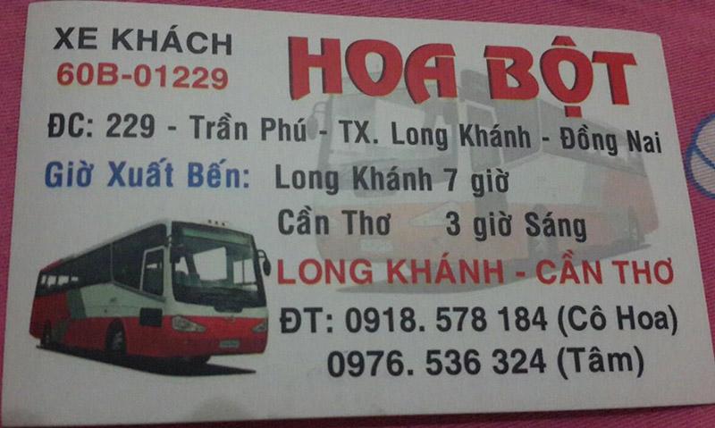 Xe khách Hoa Bột chuyến xe Long Khánh - Cần Thơ