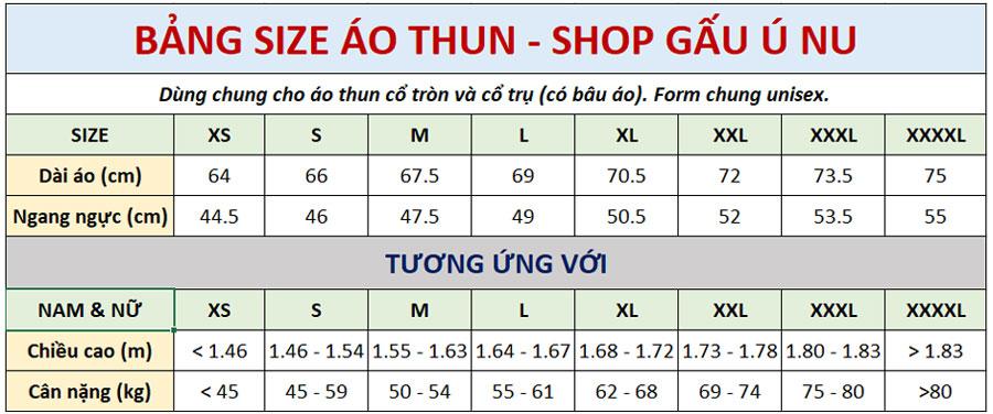 Bảng Size Áo Thun Unisex - Gấu Ú Nu