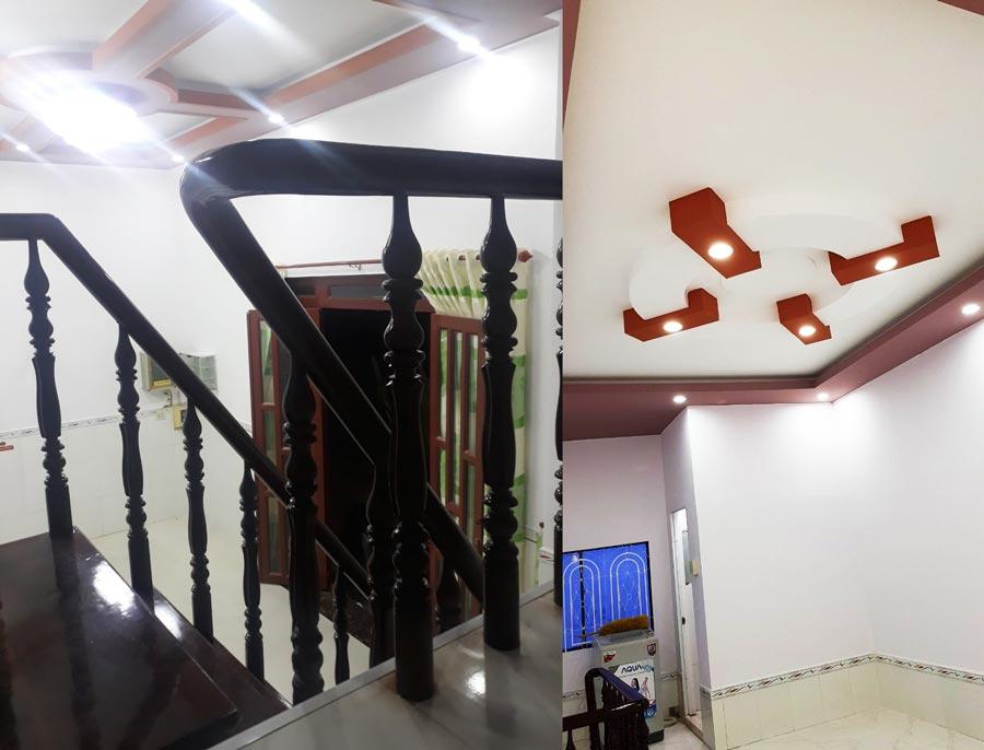 Nhà mới, trần thạch cao, hệ thống đèn led chiếu sáng tiết kiệm điện.