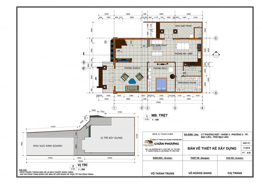Một bản vẽ chi tiết từ kiến trúc sư của Xây dựng Chân Phương
