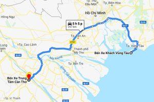 Hành trình của xe từ Bến xe Trung tâm Cần Thơ đến Bến xe khách Vũng Tàu