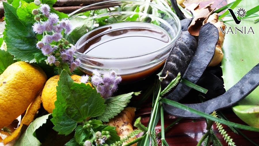 Các loại dược liệu ấy có thể kể ra như: bồ kết, lá bạc hà, lá sả, lá hương nhu, lá chanh, lá bưởi, lá trà xanh, hà thủ ô,...