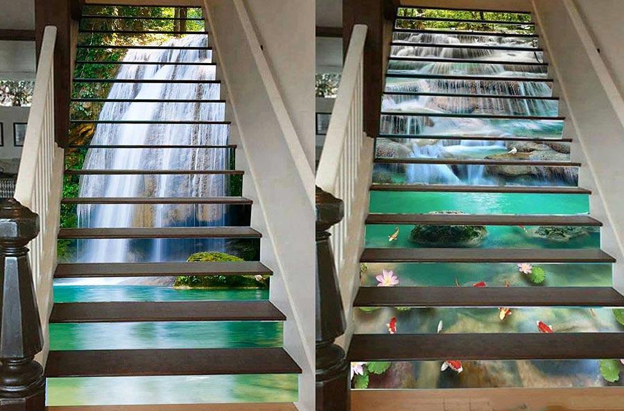 Tranh kính thác nước ốp cầu thang rất đặc biệt