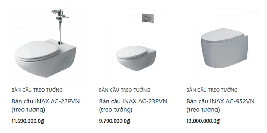 Các mẫu bàn cầu đa dạng về kiểu dáng, tính năng và thương hiệu
