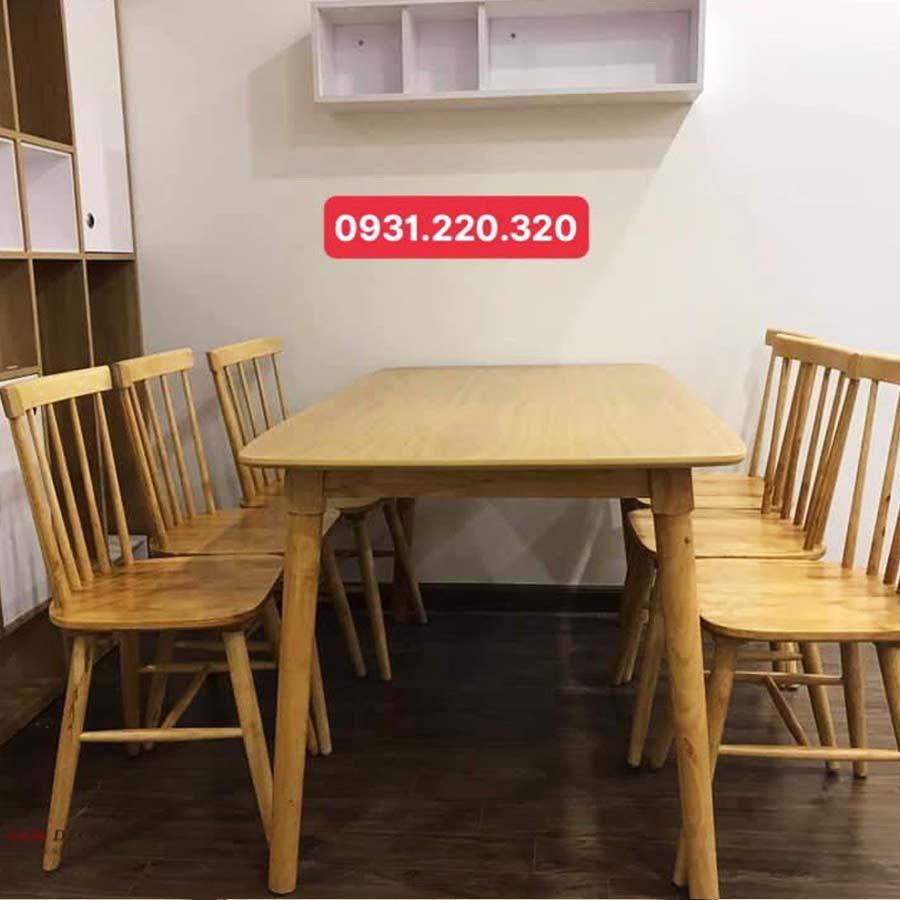 Bồ bàn & 6 ghế song tiện màu vàng gỗ tự nhiên