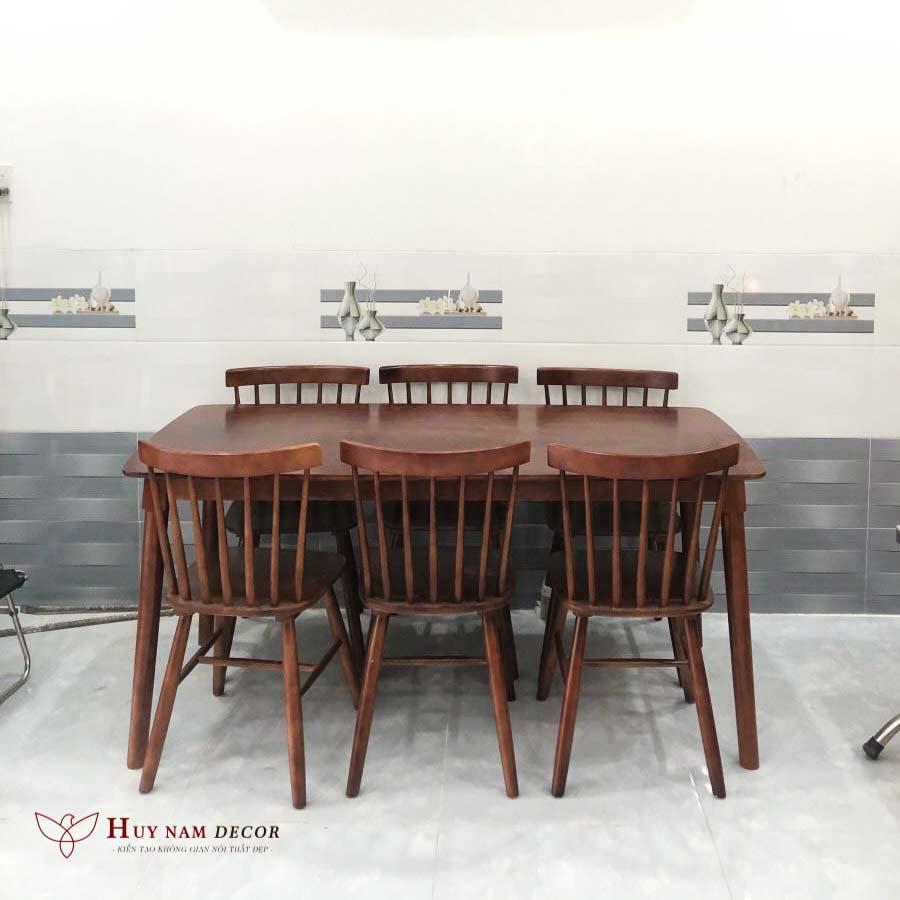 Bồ bàn & 6 ghế song tiện màu gỗ tự nhiên nâu đen
