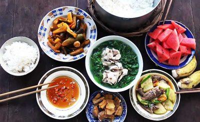 Canh cải trời nấu hến, nấu cá lóc,.. : Thanh mát vị Quê