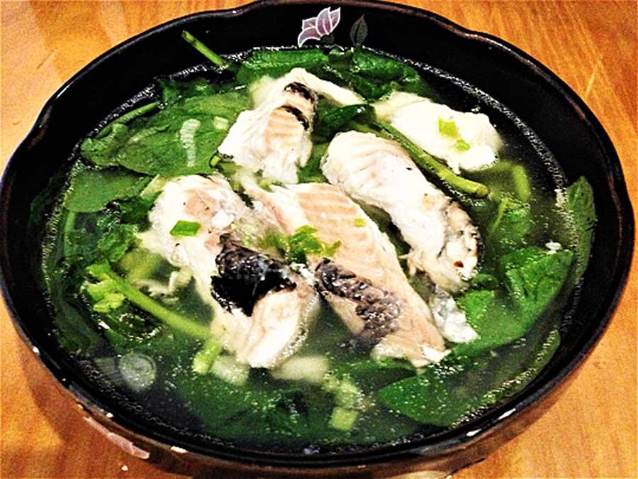 Canh rau cải trời cá lóc