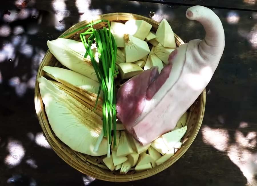 Nguyên liệu món sake hầm đuôi heo